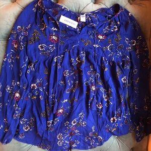 NWT Old Navy Boho Blue Floral Swing Tassel Blouse